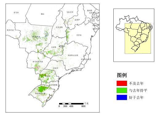 巴西大豆长势不及去年,阿根廷大豆长势较好,两国大豆长势总体略弱于去年